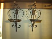 Vtg Set Of 2 Rustic Iron Heart Wall Sconce Pillar Candle Holders Metal Patina