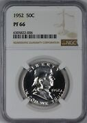 1952 Proof Franklin Half Dollar Ngc Pf66 Pr66 - Bright With Frost On Bell
