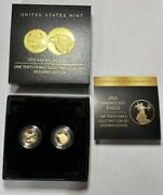 2021 American Eagle 1/10 Ounce Gold 2 Coin Set Designer Edition Mintage Of 5k