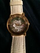 Gitano Watch With Abalone And Brass In Beveled Glass With Leather White Straps