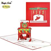 10 Pack 3d Christmas Cards Happy Holiday Pop-up Fireplace New Year Cards