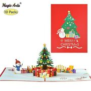 10 Pack 3d Christmas Tree Pop-up Card Happy Holidays Greeting Cards New Year