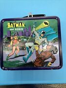 Batman And Robin Metal Lunch Box 1966 With Thermos Used