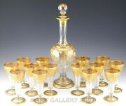 Antique Bohemian Fritz Heckert Gold Encrusted Decanter And Wine Glasses Set 15pc