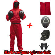 Squid Game Villain Red Jumpsuit Mask Cosplay Costume Decor Halloween Party Props