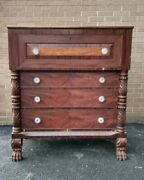 Antique Mid 1800s Mahogany Tall Chest With Pull Out Secretary