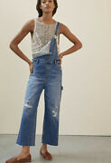 Anthropologie Pilcro Relaxed Denim Overall Slouchy Destroyed Side Buttons 26 New