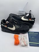 Off White X Nike Air Max 90 Black Aa7293 001 Size 14 With Box And Laces