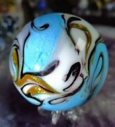 👀look Blue Beauty🔘 2 New Gold Lutz Beauty -new Contemporary Art Glass Marbles
