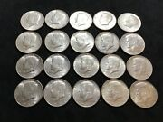 Lot Of 60 Circulated You Grade 1964 90 Silver Kennedy Half Dollars. 3 Rolls