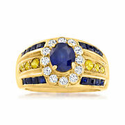 Vintage Blue And Yellow Sapphire Ring With Diamonds In 18kt Gold Size 8