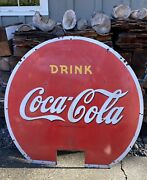 """Large Vintage Coca Cola Soda Pop Sign 51"""" At Widest By 46""""high"""