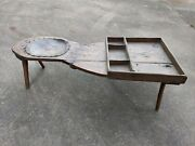Rare Antique Cobblers Bench Primitive Wooden And Hand Made Leather Seat Man-cave