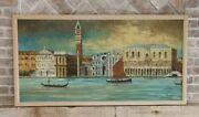Vintage Mid Century Venice Italy Oil Painting Canvas Skyline Waterfront By Peter