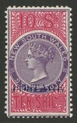 New South Wales 1894 Postage Blue On Qv 10/- Violet And Rosine Stamp Duty.