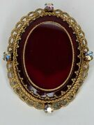 Vintage West Germany Gold Tone Faux Ruby Red Brooch Pin Rhinestone Ornate