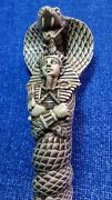 Ancient Egyptian Pharaoh Style A Cobra Reared Up Coiled Around Knife - Resin