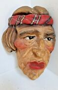 Vintage R. Dell Osso Native American Indian Chalkware -signed -dated 1937- Rare