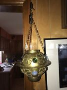 Antique Pierced Brass And Colorful Glass Jeweled Hanging Candle Lantern Lamp