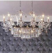Candle Light Crystal Chandelier Polished Chrome With Led Attractive Lighting New