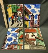 Hand Painted Mexican Tiles Large Set Of 4 Watercolor