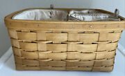 Longaberger 2008 Small Sort And Store Basket Warm Brown + 3 Fabric Bin Dividers