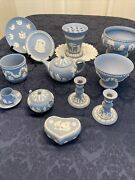 Wedgewood Beautiful Collection Of 12 Blue Bisque Pieces- Please See Details