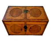 Early 19th C. English Tea Caddy Inlaid W/ Exotic Woods And Pewter Compartments