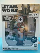 6.5and039 Star Wars Mandalorian With Child Pre Lit Christmas Yard Inflatable New 2021