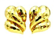Henry Dunay Hammered Yellow Gold Clip-on Earrings