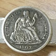 1863 Seated Liberty Dime Us Coin Mid Century Modern Silver Anson Bar Tie Clip