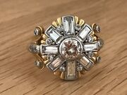 Magnificent Vintage 18ct Gold Diamond 2.50ct Star Cluster Cocktail Ring And Box
