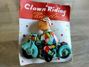 Rare Red China Tin Toy Motorcycle Wind Up