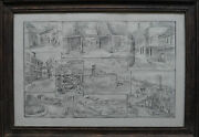 Unidentified Artist Signed And Dated 53 Original Drawing Of 9 Locations In England