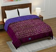 Indian Handmade Silk Floral Printed Light Weight Indian Kantha Quilts Queen Size
