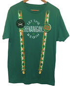 St Patricks Day Let The Shenanigans Begin Graphic T-shirt Menand039s Sz Large