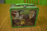 Vintage Metal Beautiful Universal Monsters Lunch Box And Thermos 1979 Aladdin