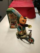 Red China Tin Toy Cat Wind Up With Box Mechanical Vintage 1960 Antique