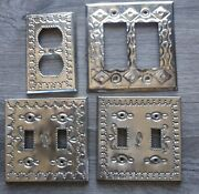 Mexican Punched Tin Metal Light / Plug Switch Plate Covers Lot Of 4 Rustic
