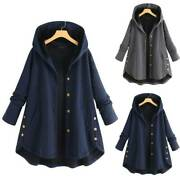Womens Winter Warm Button Down Hooded Coat Casual Solid Long Jacket Outwear Tops