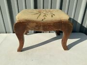 """Vintage Antique Primitive Footstool Needlepoint Wood French Curved 13""""x10-1/2"""""""