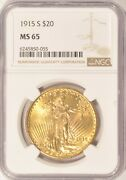 1915-s 20 Saint Gaudens Gold Double Eagle Coin Ngc Ms65 Pre-1933 Gold