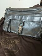 Authentic Rebecca Minkoff Dark Gray Leather Morning After Clutch Old School Rare