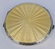 Art Deco 1937 Lemon Yellow Guilloche Silver Compact By Crisford And Norris