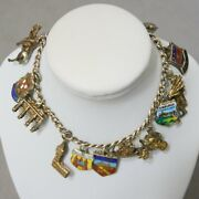 Jewelry Bracelet + Charms Sterling Silver .925 800 Travel 1940s Small Usa Seller