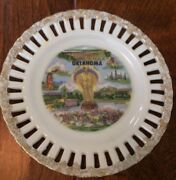 6 Porcelain Decorative Plate Gold Gild Scalloped Cutout Oklahoma Will Rogers