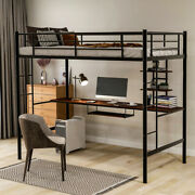 Loft Bed With Desk And Shelf Space Saving Design Twin Size Black Metal Structure