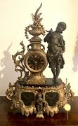Antique French Early 19thc Gilded Metal And Black Slate Mantel Clock