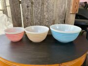 Set Of Vintage Pyrex Rainbow Stripes Bowls 403,402,401 Blue, Tan And Pink
