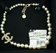 Nwt Classic Pearl Cc Crystal Gold Short Choker Necklace Pearls Sold Out